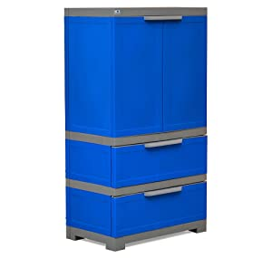 Nilkamal Freedom Cabinet with 2 Drawers (Deep Blue and Grey)
