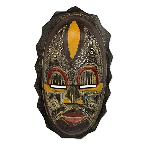 NOVICA Decorative Nigerian African Rubber Wood Mask, Black, 'Heart Of Grief'
