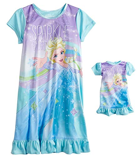 Disney Girls' Frozen Elsa Nightgown with Matching Doll Gown ()