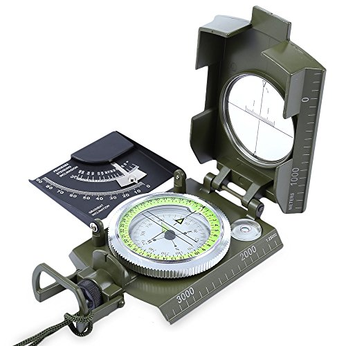 X-CAT Water Resistant Luminous Camping Prismatic Compass with Pouch Military Army Travel Geology Equipment