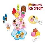 Kocome Kids Food Pretend Play Toy Set Sweet Treats Colorful Ice Cream Dessert Tower