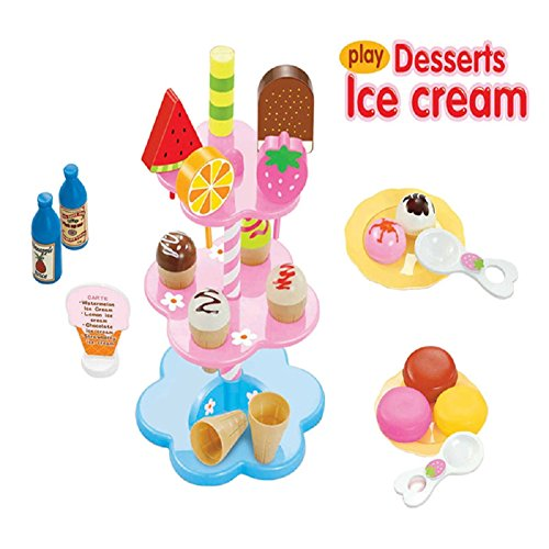 Kocome Kids Food Pretend Play Toy Set Sweet Treats Colorful Ice Cream Dessert Tower by Kocome