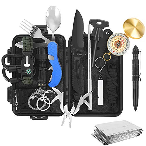 Tolaccea Survival Gear 17 in 1 Camping Survival Kits Professional Tactical Equitment Emergency Survival Tools with Knife Compass Blanket for Adventure Outdoors