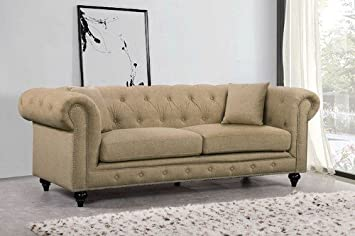 Amazon.com: Meridian Furniture Chesterfield Sand Linen Sofa ...