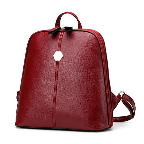 Bellelove 2018 Newest Leather Backpack,Fashion Women's New Backpack Travel Handbag School Rucksack Backpack (Red) Red