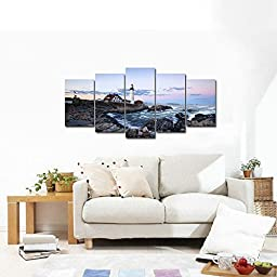 Wieco Art - Island 5 Panels Modern Canvas Prints Artwork Seascape Lighthouse Pictures to Photo Paintings on Stretched and Framed Canvas Wall Art Décor for Living Room Bedroom Home Decorations