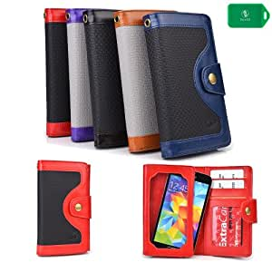 PROTECTIVE FLIP COVER- CARD SLOTS/PHONE POCKET W/TOUCH SENSITIVE SCREEN/FULL LENGTH BILL HOLDER-BLACK/RED- UNIVERSAL FIT FOR Motorola XT928