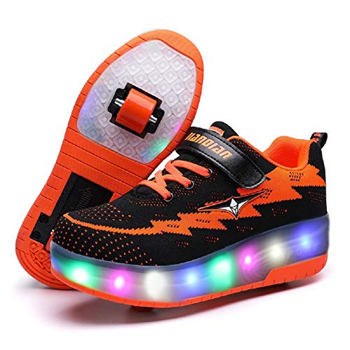 Nsasy YComi Boys Girls Rechargeable Roller Shoes Colourful USB Charging Roller Skates Shoes LED Light Shoes ()