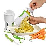 Premium 4 in 1 Vegetable Spiralizer - Spiral Slicer Bundle (White) + FREE Ceramic Peeler + FREE Ceramic Knife + FREE Cleaning Brush. Includes 2 Vegetable Cutter Sizes