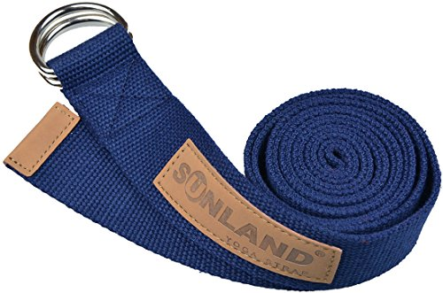 Sunland Yoga Stretching Belt Yoga Bands Fitness Training Strap Belt With Metal D-Ring and Leather Accents 6 Foot Length 1.65 Inch Width Navy Blue