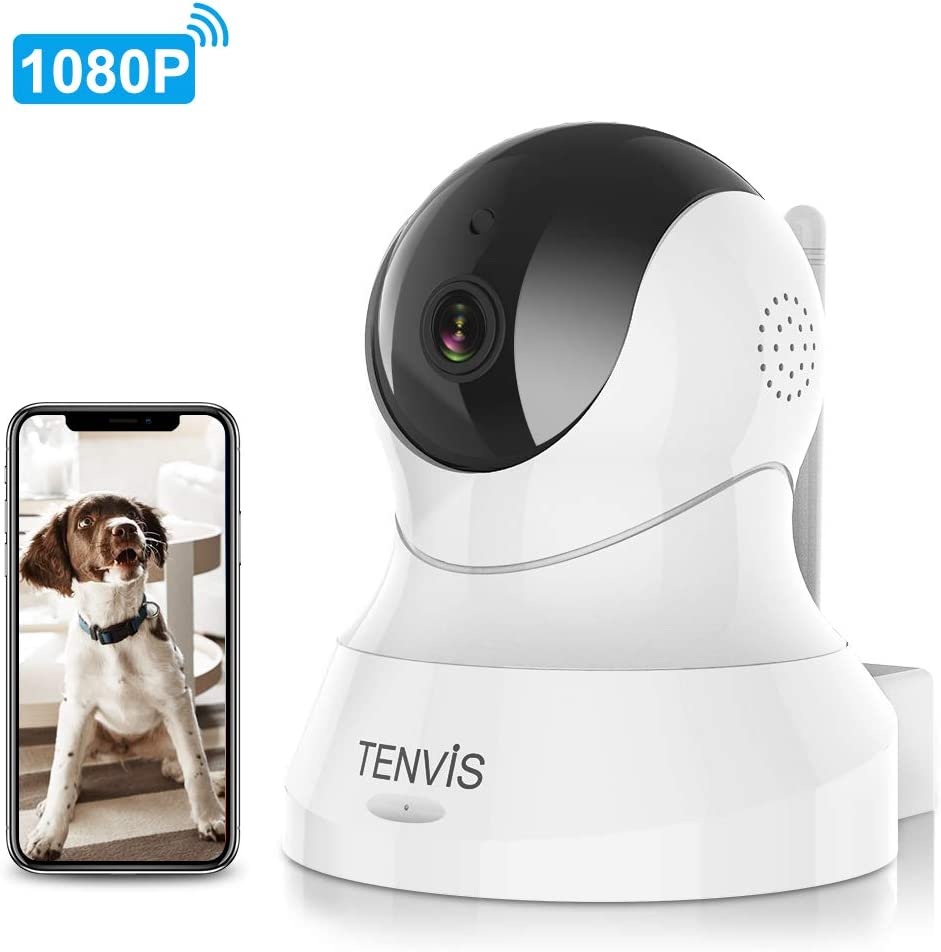 Dog Camera - TENVIS 1080P Pet Camera with Phone App Speaker, WiFi Security Camera with Motion Detection, 2-Way Audio, Night Vision, Baby Monitor Camera with Android & iOS APP