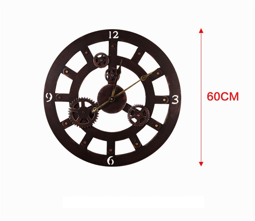 ヴィンテージサイレントウォールクロックキッチンリビングルームホームオフィスホテル装飾ギフトヨーロッパのアンティーク3Dギアレトロウォールクロックのためのアラビア数字表示とクリエイティブ中空デザイン B07D34MFZS
