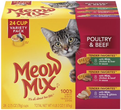 Meow Mix Tender Favorites  Poultry and Beef Variety Pack, 24-Count, My Pet Supplies