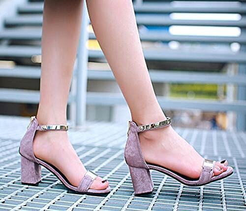 Chfso Donna Elegante Open Toe Decorazione In Metallo Cinturino Alla Caviglia Con Cerniera Mid Tacchi Chunky Sandali Gladiatore Viola