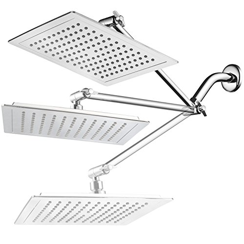 Diagonal Of A Square - AquaSpa Giant 9-inch Diagonal Square Rain Shower Head PLUS 11-inch Solid Brass Angle Adjustable Extension Arm. 121 Jets with Rub-Clean Nozzles. Front and Back All-Chrome Finish. Sleek Square Design