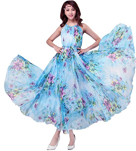 Medeshe Women's Chiffon Floral Holiday Beach Bridesmaid Maxi Dress Sundress (US Size 16-20; Length-130cm, Watery Blue Floral)
