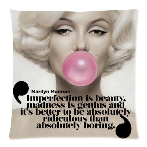 - Funny Cute Marilyn Monroe & Cool Quote Throw Pillow Cover Case Cushion - Size: 18