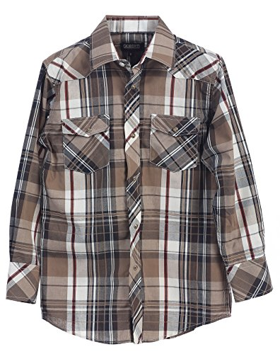 Gioberti Big Boys Plaid Long Sleeve Pearl Snaps Shirt, Brown / White, Size 14
