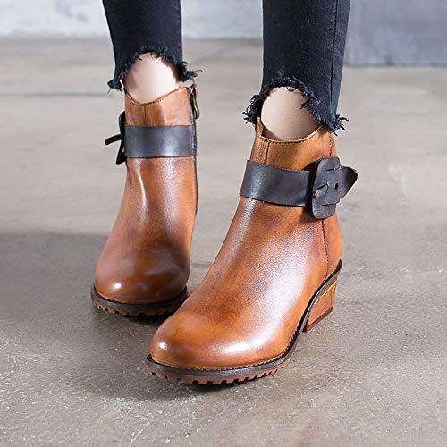 ZHRUI Schnalle Vintage Frauen Stiefel Leder Reißverschluss Vintage Schnalle Mischfarbe Martin Schuhe (Farbe   Braun, Größe   EU 40) 65a590