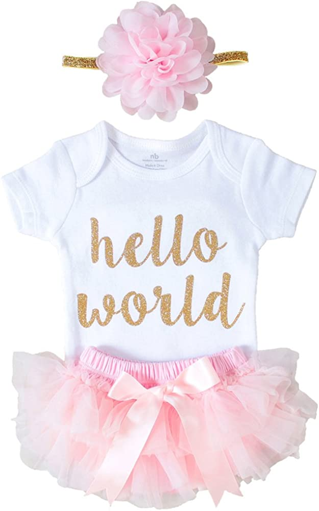 OoSweetCharlotteoO Newborn Baby Girl Coming Home Outfit Hello World Bodysuits 3pcs