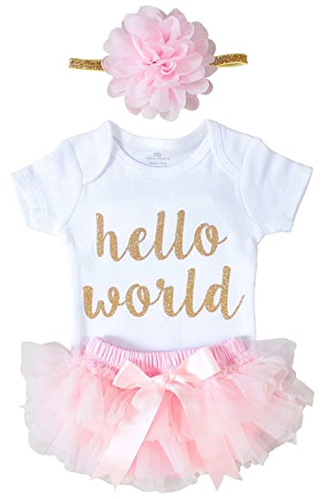 71bbb7e162d28 ... popular stores 726a8 5a930 OoSweetCharlotteoO Newborn Baby Girl Coming  Home Outfit Hello World Bodysuits 3pcs (  sleek 7ab30 b7ba7 Janie ...