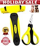 Cute Fluffy 2-IN-1 Professional Pet Grooming Kit - Pet Deshedding Brush Shedding Tool, Reduces Dog Cat Hair Shed Up to 90% & Pet Nail Clippers For Small Animals Tiny Dogs Cats Puppy Kitten, Free Ebook