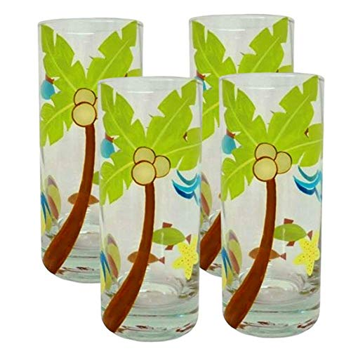 Highball Glasses Tall Tumbler Glass Glassware Clear Tropical Palm Trees Pool Luau Cocktail Soda Pop Water Iced Tea Juice Beer Party Drinking Glasses 4 Set (Club Soda Or Sparkling Water For Mojitos)