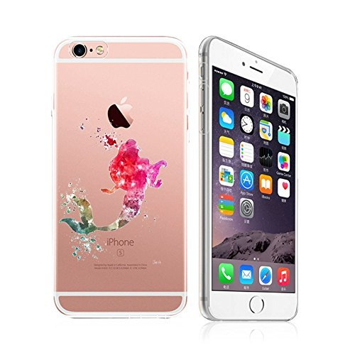 iPhone 5C, DECO FAIRY Art Paint Splash Ultra Slim Translucent Silicone Clear Case Gel Cover for Apple (pink lady in ocean)