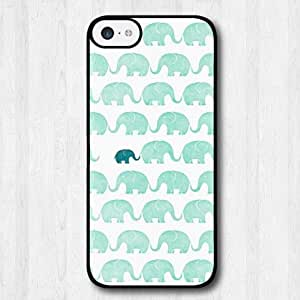 For iPhone 5s Case, Fashion Design Mint Green Elephants Pattern Protective Hard Phone Cover Skin Case For iPhone 5s +Screen Protector