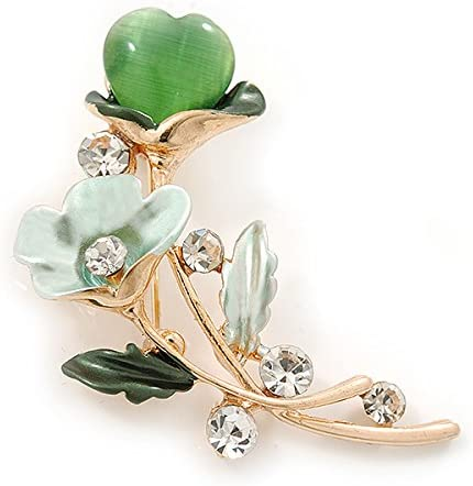 Avalaya Mint//Green Crystal Calla Lily with Cats Eye Stone Floral Brooch in Gold Tone 48mm L