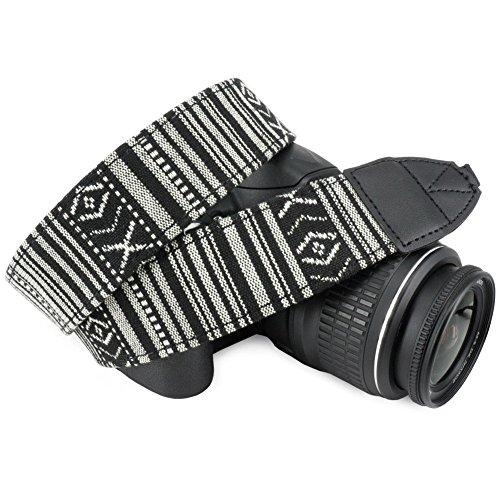 Wolven Pattern Canvas Camera Neck Shoulder Strap Belt Compatible for DSLR/SLR/Men/Women etc, Black White Stripe