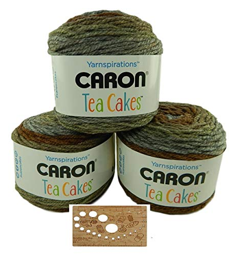 Caron Tea Cakes Acrylic-Wool Blend Yarn Super Bulky #6 8.5 oz 204 yds 3-Pack w Bamboo Knitting Gauge (English Breakfast