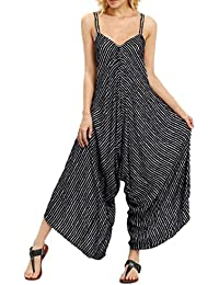 Rompers Women Strappy V Neck Wide Leg Overalls Loose...