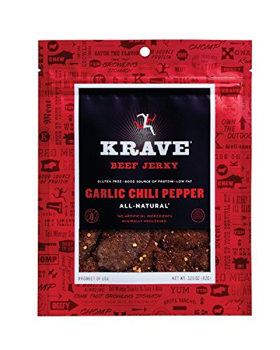 Krave Beef Jerky, Garlic Chili Pepper, 3.25 Ounce (Pack of 4)