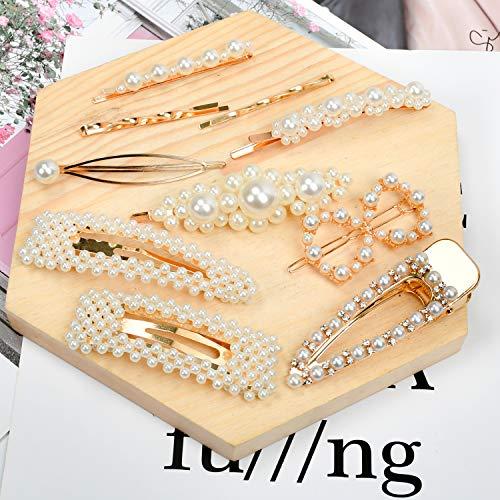 Hair Clips for Women Hair Pins, 10pcs Artificial Pearl Hair Barrettes Handmade Bridesmaid Hair Clips Hair Accessories for Women Ladies Girls with a Little Storage Box (10 PCS)