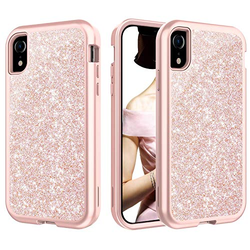 CreaDream Case for iPhone XR, Glitter Sparkle Bling Case,Heavy Duty Shockproof 3 in 1 Hybrid Hard PC Cover Soft TPU for Girls Women [Supports Wireless Charging] for Apple iPhone XR(6.1