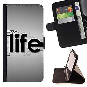 - Life Typography/ Personalizada del estilo del dise???¡¯???¡Ào de la PU Caso de encargo del cuero del tir???¡¯????n del s - Cao - For Samsung Galaxy S6