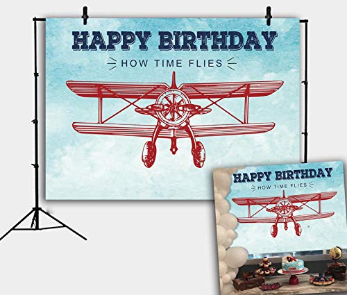 RUINI Vintage Airplane Backdrop Cartoon Plane Model Decor Backdrop for Kids Birthday Party 7x5FT