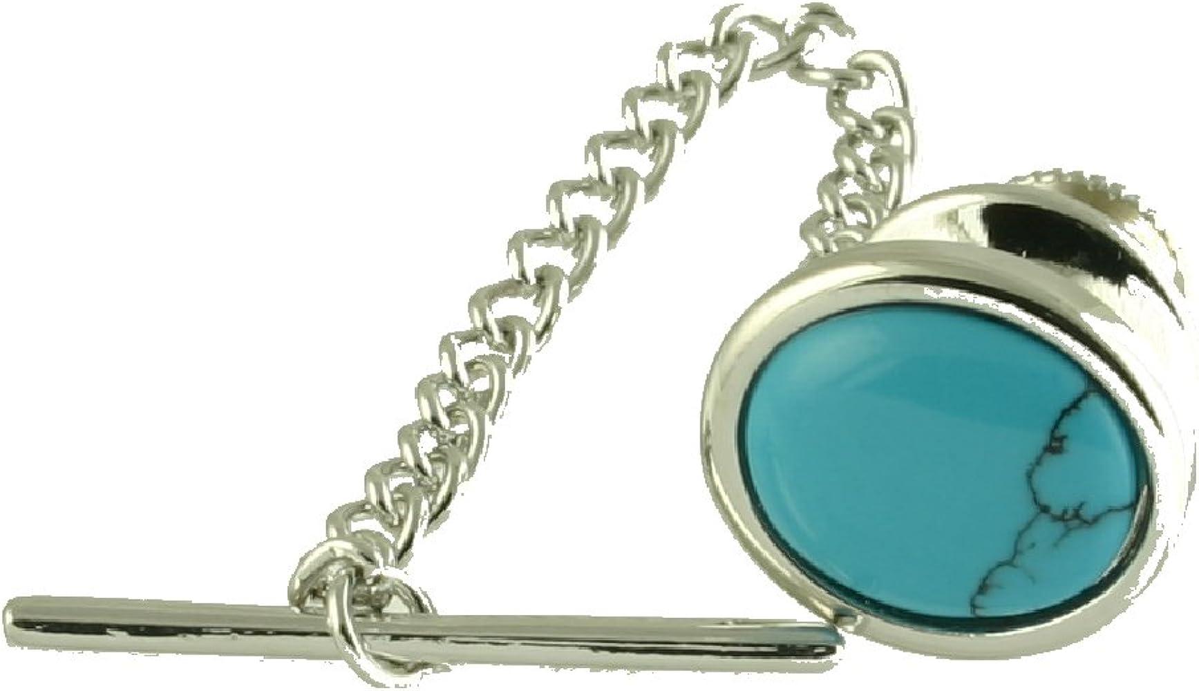 Select Gifts Piedra Azul Turquesa Corbata Oval TAC Gold-Tono ...