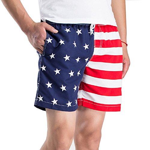 VICVIK-Fashion-Mens-USA-Flag-Polyester-BoardshortsM-L-XL-2XL