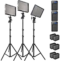 Aputure Amaran AL-528KIT(AL-528S + AL-528W2) 528 Led Video Light Panel Studio LED Lighting Kit with Light Stand, Sony NP-F960 Battery Pack and Pergear Clean Kit