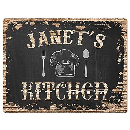 Amazon Com Janet S Kitchen Chic Sign Vintage Retro Rustic 9