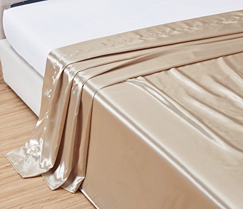 QUEEN size, Bridal SATIN Solid Ivory Flat Bed Sheet - Super Silky & Soft - SALE - High Thread Count - 1500 Series-Wrinkle, Fade, Stain Resistant, Deep Pockets, 100% (Flat Sheet Ivory)