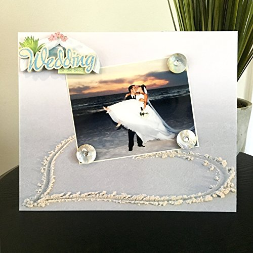 Heart in the Sand Beach Wedding - Travel Destination Honeymoon Getaway Magnetic Picture Frame Handmade Gift Present Home Decor Size 9 x 11 Holds 5 x 7 Photo
