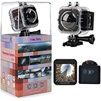 PINGKO WiFi 360 Degree Panoramic 12MP VR Action Sports Camera 1648x1648 30fps Ultra HD DV Camcorder ,Spherical Lens 3D Panorama Camera Mini DV Player 1.5 inch LCD Screen Waterproof 30m -Silver