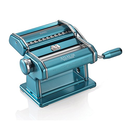 Marcato Atlas Pasta Machine, Made in Italy, Light Blue, Includes Pasta Cutter, Hand Crank, and Instructions (Stainless Steel Maker Pasta)