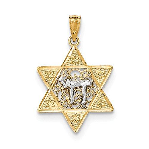 14k Two Tone Gold Star of David Chai Pendant
