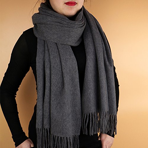 The lambs wool shawl Plain-colored men's shawl from Inner Mongolian lamb hair Women wool scarf (Charcoal (Wool Scarf Charcoal)