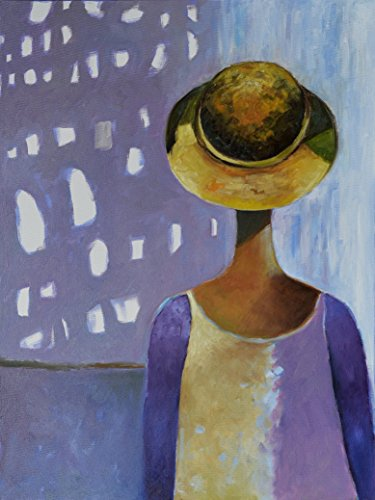 Fine Edge Trendy (Woman Painting Gray Grey Purple Female People Silhouette Head Face Figure for Living Room Bedroom Bathroom Kitchen Women Art Posters Portrait Figurative CANVAS PRINT for Wall Minimal Minimalist Trendy)
