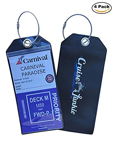 Cruise Junkie Luggage Tags 4 Pk Zip Seal Etag Holder w/Steel Ring